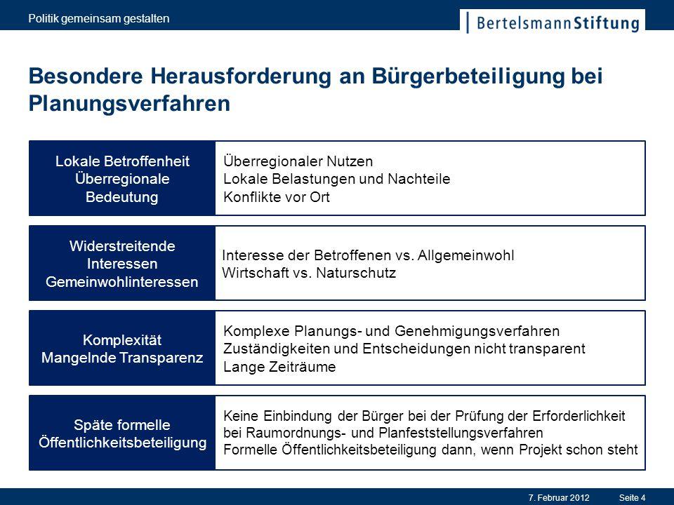 Besondere Herausforderung an Bürgerbeteiligung bei Planungsverfahren