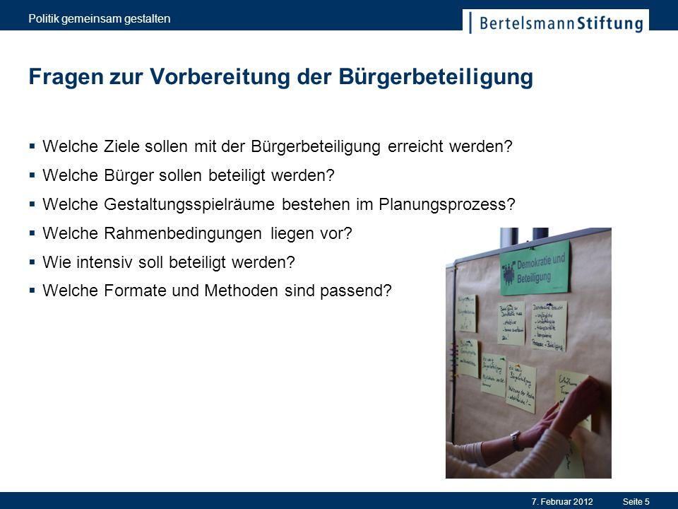 Fragen zur Vorbereitung der Bürgerbeteiligung