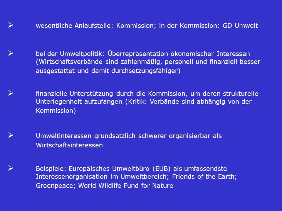 Ø wesentliche Anlaufstelle: Kommission; in der Kommission: GD Umwelt