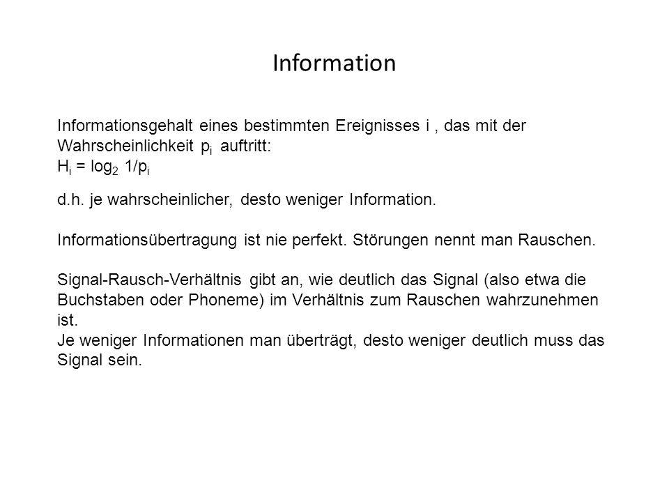 Information Informationsgehalt eines bestimmten Ereignisses i , das mit der Wahrscheinlichkeit pi auftritt: