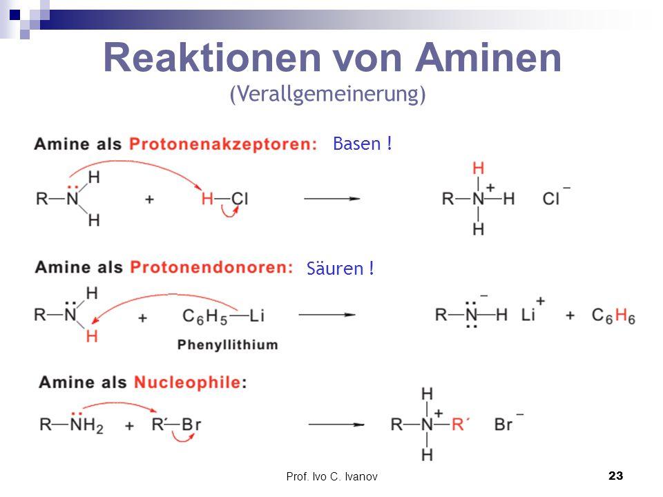 Reaktionen von Aminen (Verallgemeinerung) Basen ! Säuren !