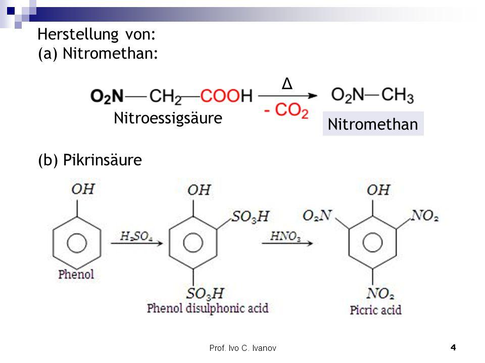 Herstellung von: (a) Nitromethan: Δ Nitroessigsäure Nitromethan