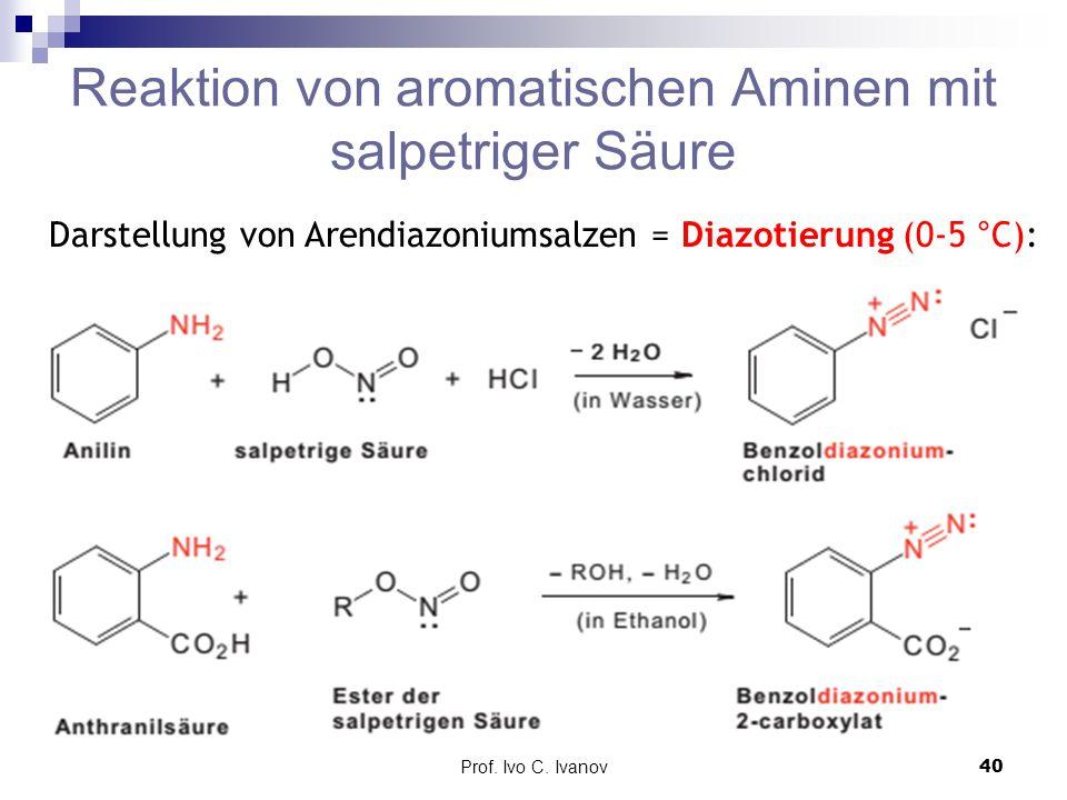 Reaktion von aromatischen Aminen mit salpetriger Säure