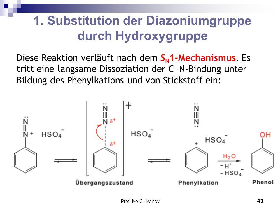 1. Substitution der Diazoniumgruppe durch Hydroxygruppe