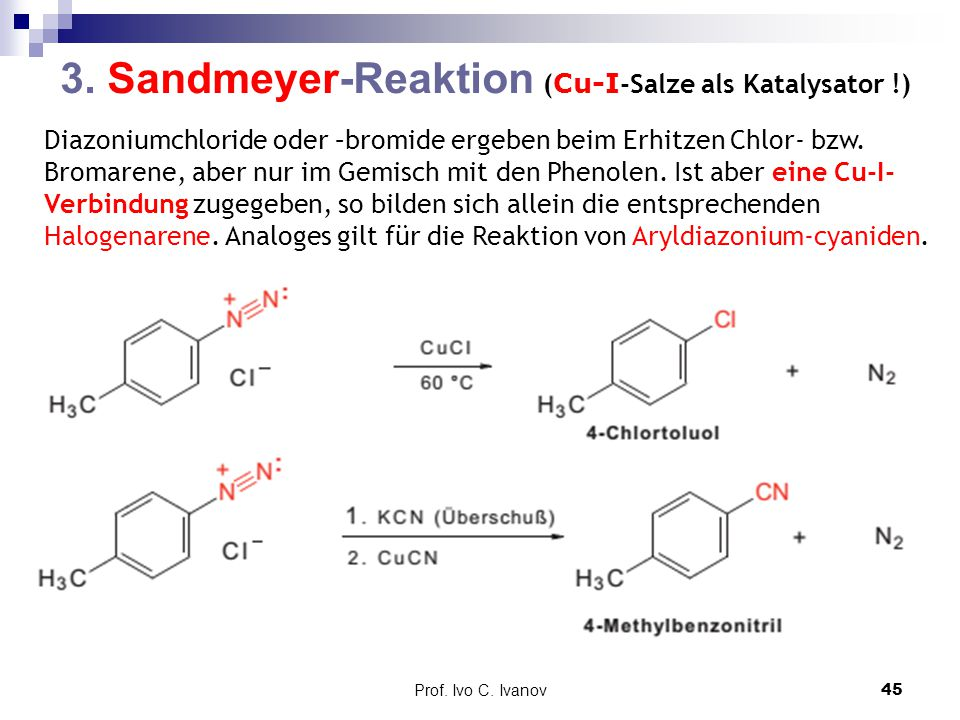 3. Sandmeyer-Reaktion (Cu-I-Salze als Katalysator !)