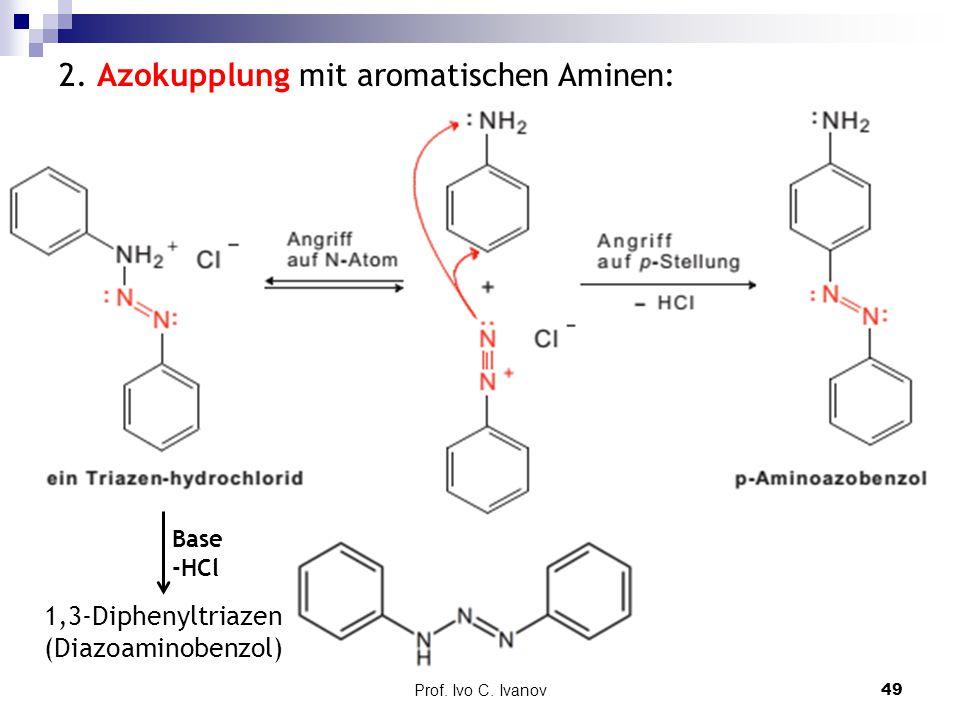 2. Azokupplung mit aromatischen Aminen: