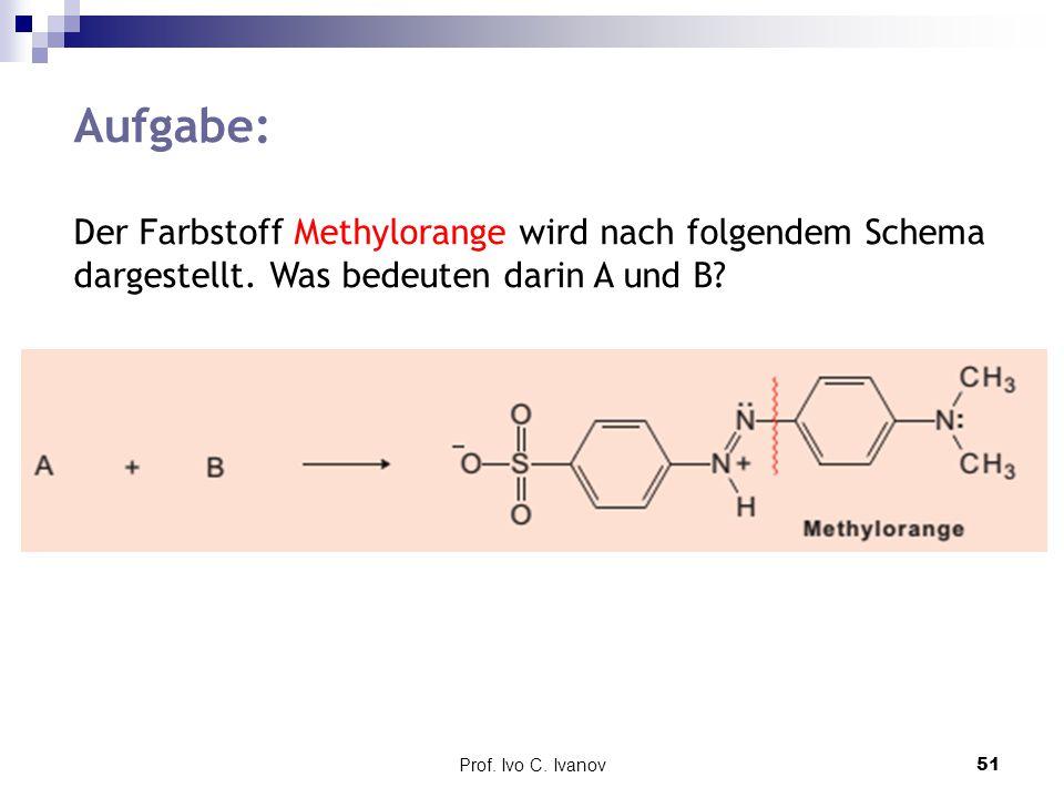 Aufgabe: Der Farbstoff Methylorange wird nach folgendem Schema dargestellt. Was bedeuten darin A und B