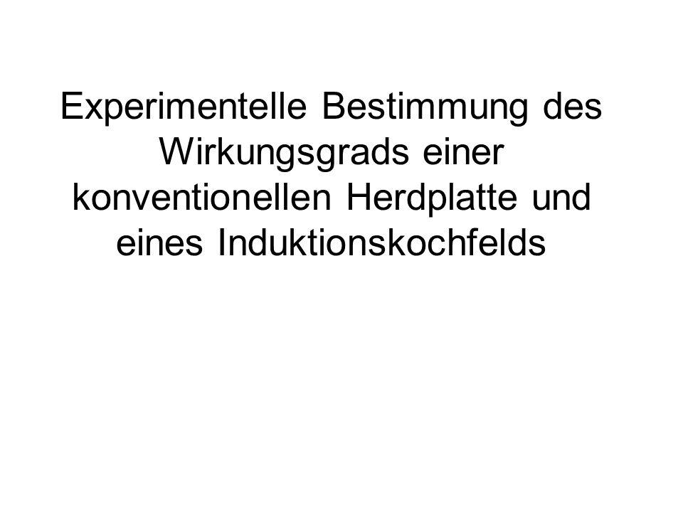 Experimentelle Bestimmung des Wirkungsgrads einer konventionellen Herdplatte und eines Induktionskochfelds