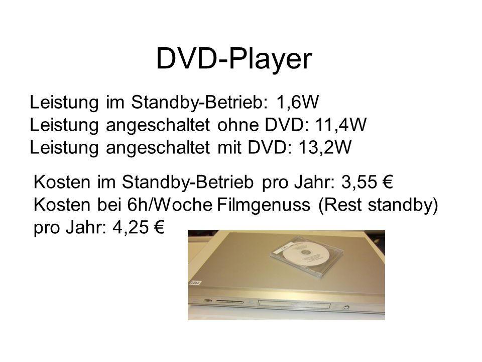 DVD-Player Leistung im Standby-Betrieb: 1,6W Leistung angeschaltet ohne DVD: 11,4W Leistung angeschaltet mit DVD: 13,2W.