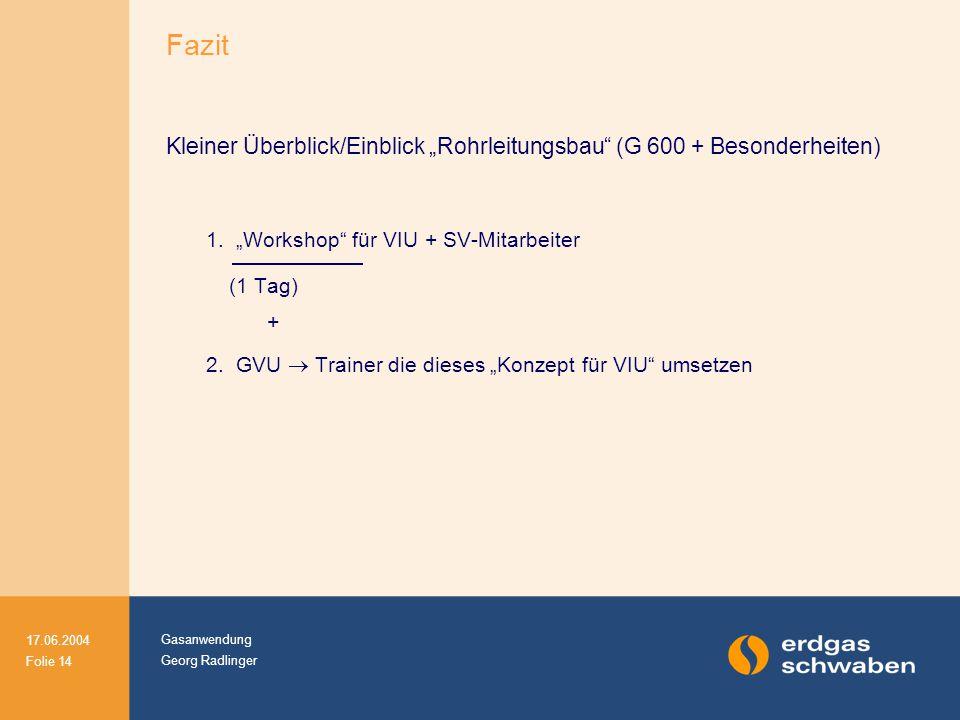 """Fazit Kleiner Überblick/Einblick """"Rohrleitungsbau (G 600 + Besonderheiten) 1. """"Workshop für VIU + SV-Mitarbeiter."""