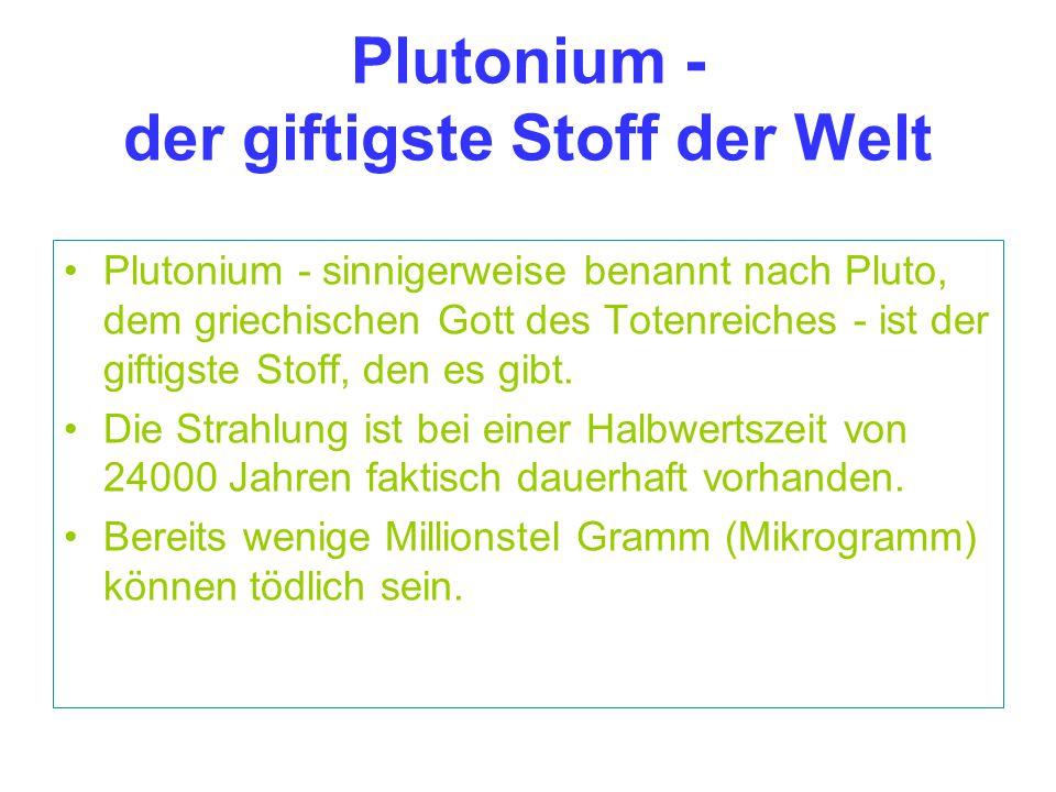 Plutonium - der giftigste Stoff der Welt