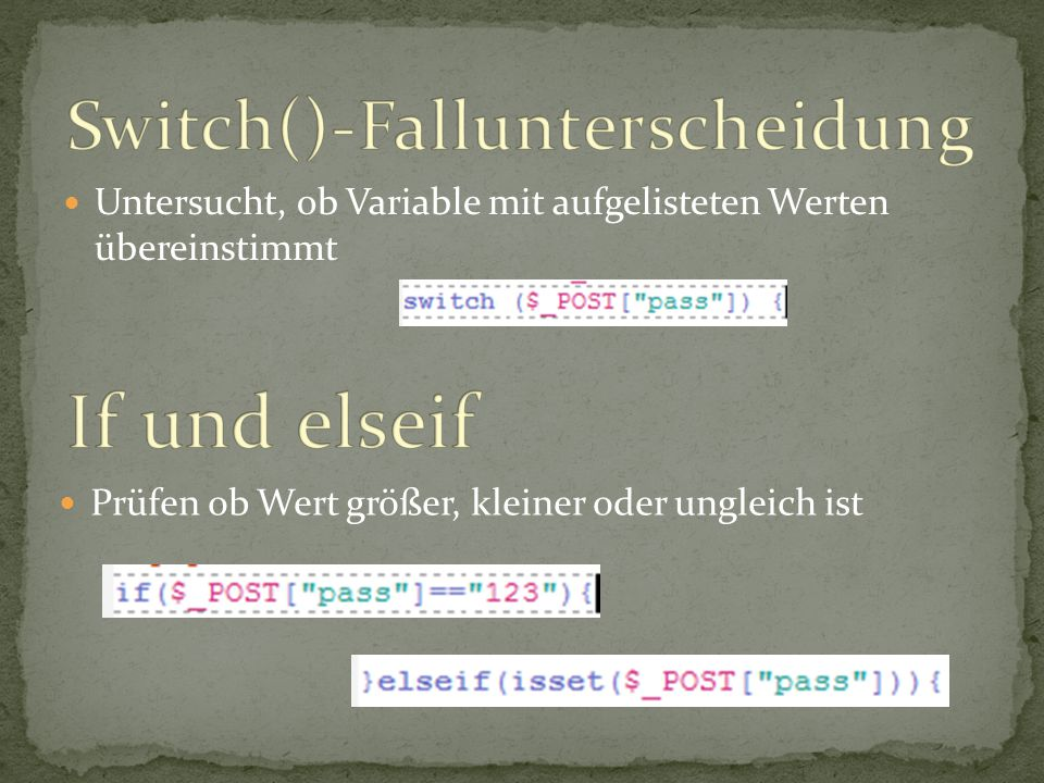 Switch()-Fallunterscheidung
