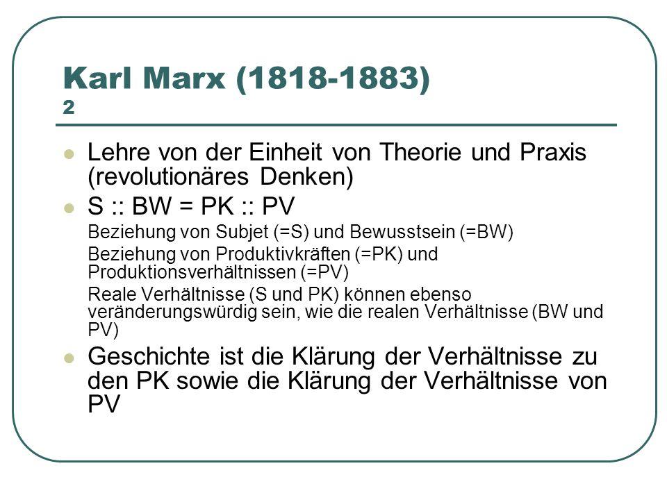Karl Marx (1818-1883) 2 Lehre von der Einheit von Theorie und Praxis (revolutionäres Denken) S :: BW = PK :: PV.