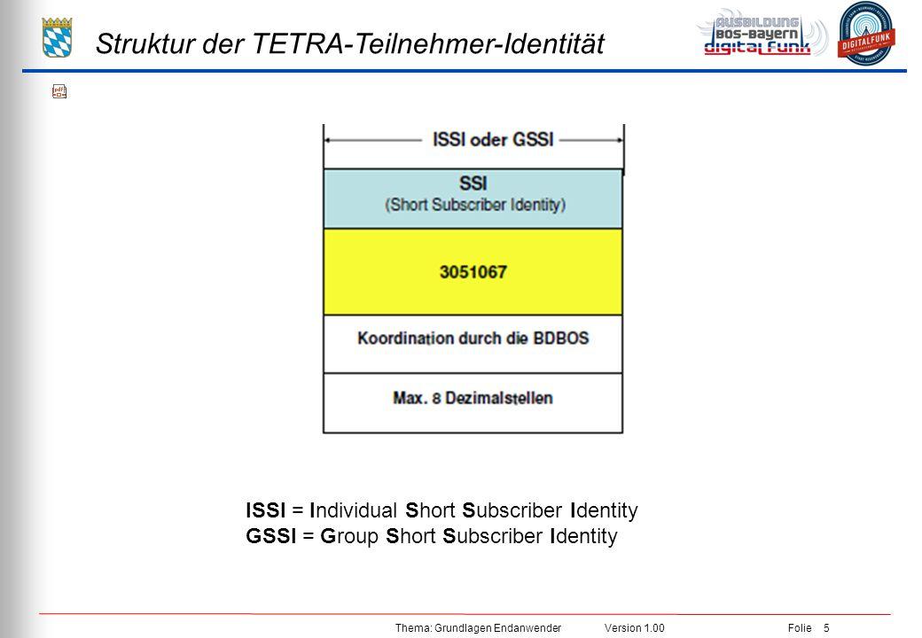 Struktur der TETRA-Teilnehmer-Identität