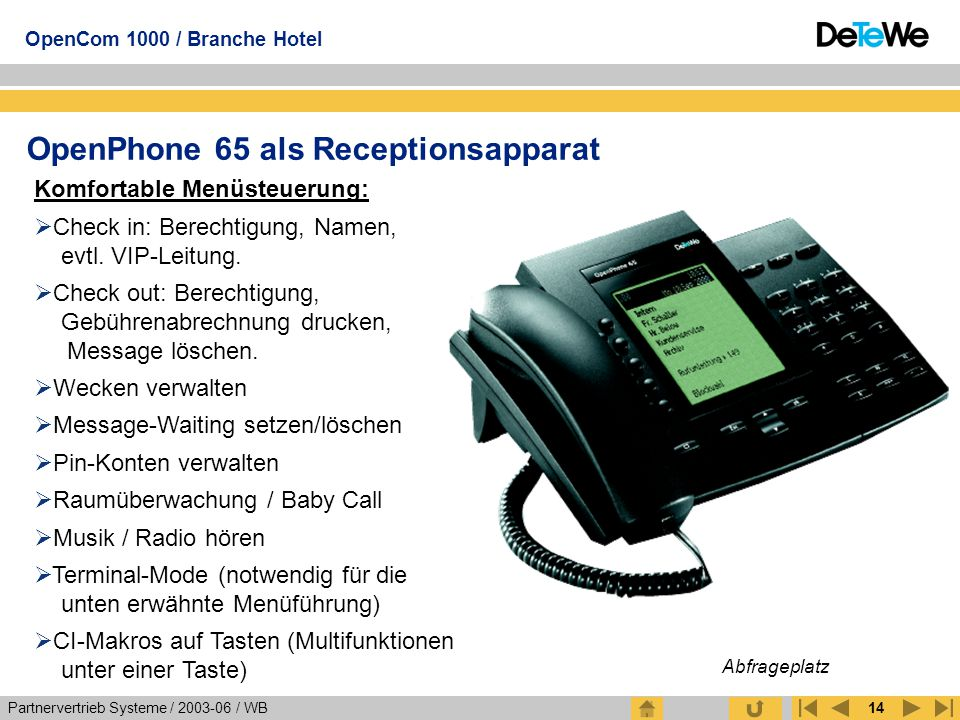 OpenPhone 65 als Receptionsapparat