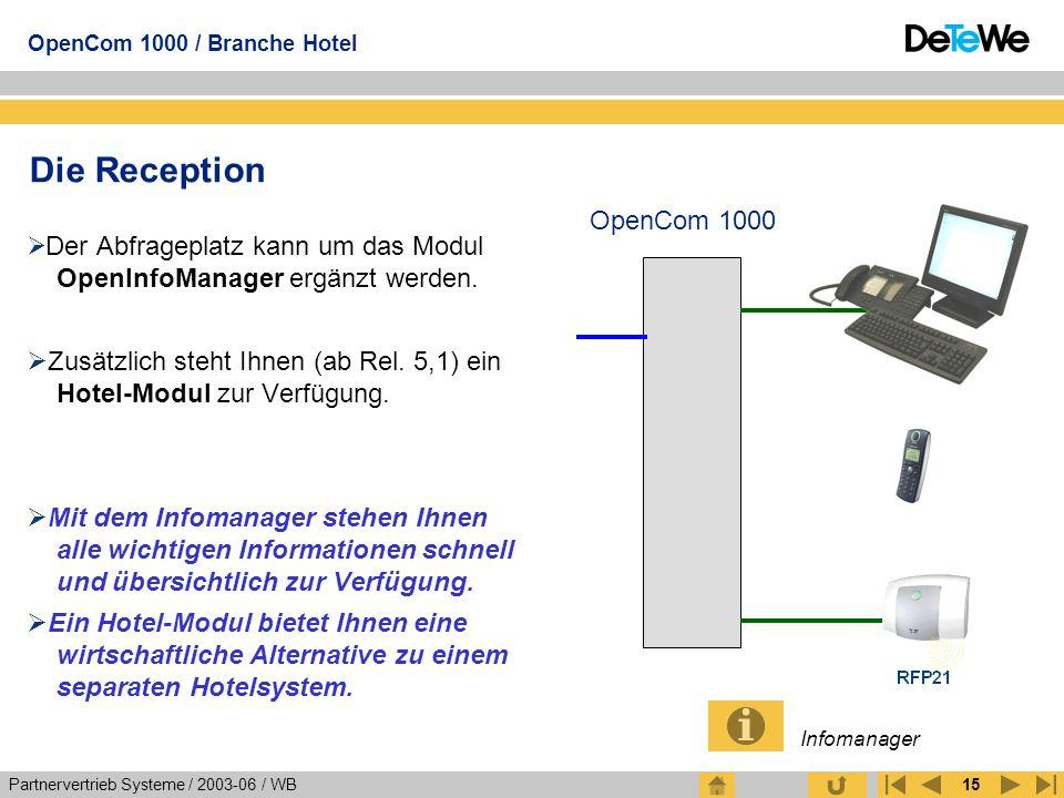 Die Reception OpenCom 1000. Der Abfrageplatz kann um das Modul OpenInfoManager ergänzt werden.