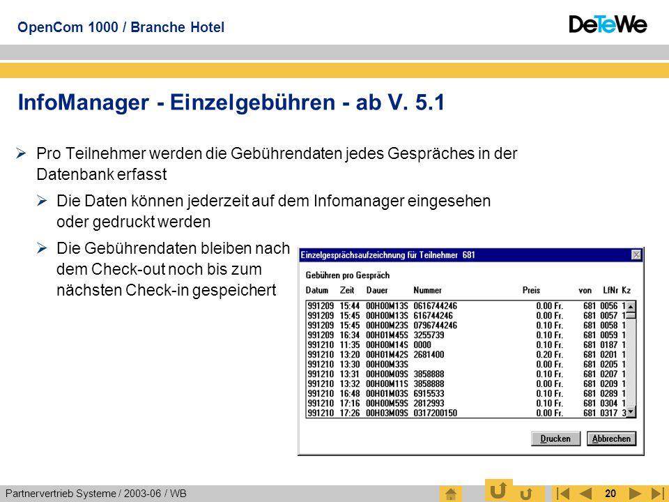 InfoManager - Einzelgebühren - ab V. 5.1