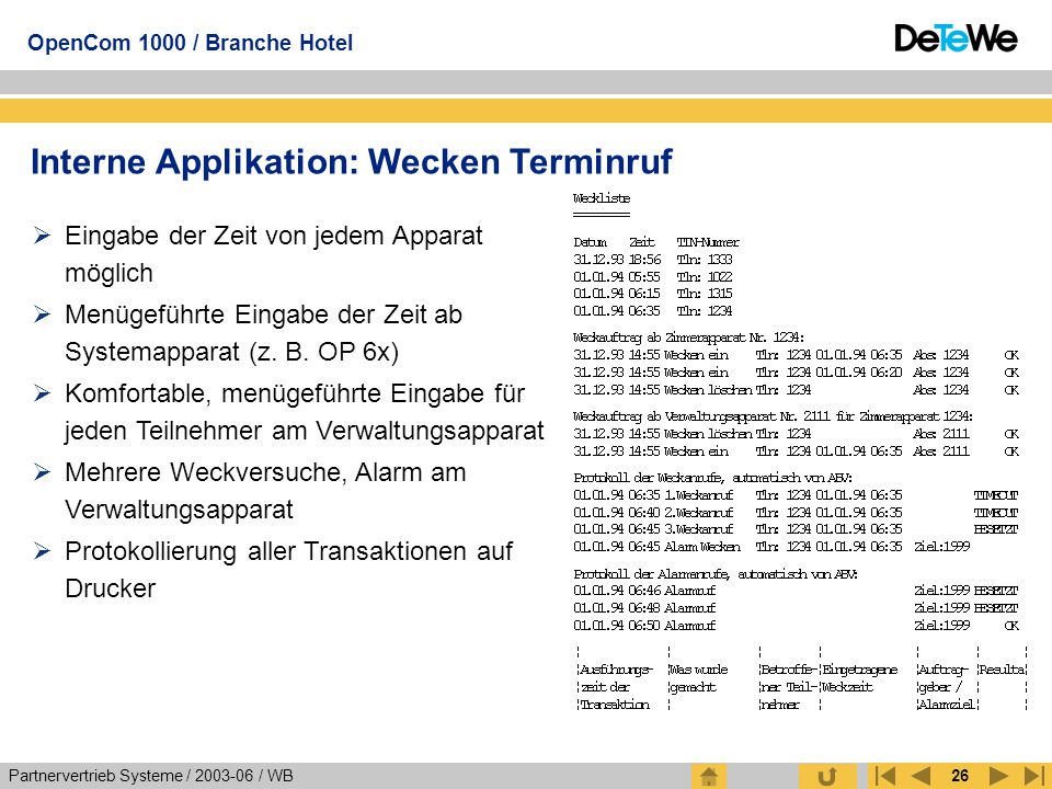 Interne Applikation: Wecken Terminruf