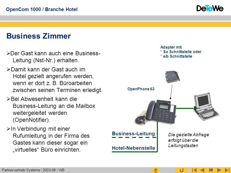 Business Zimmer Adapter mit * So Schnittstelle oder * a/b Schnittstelle. Der Gast kann auch eine Business- Leitung (Nst-Nr.) erhalten.