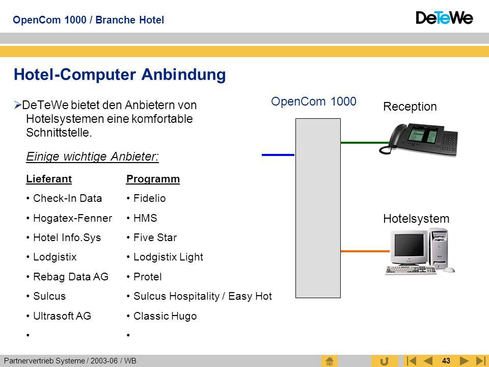 Hotel-Computer Anbindung