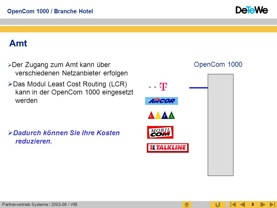 Amt Der Zugang zum Amt kann über verschiedenen Netzanbieter erfolgen.