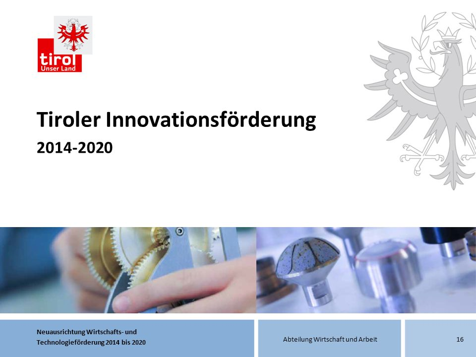 Tiroler Innovationsförderung 2014-2020