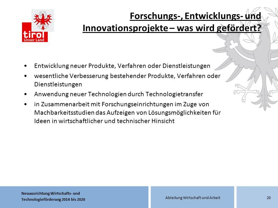 Forschungs-, Entwicklungs- und Innovationsprojekte – was wird gefördert