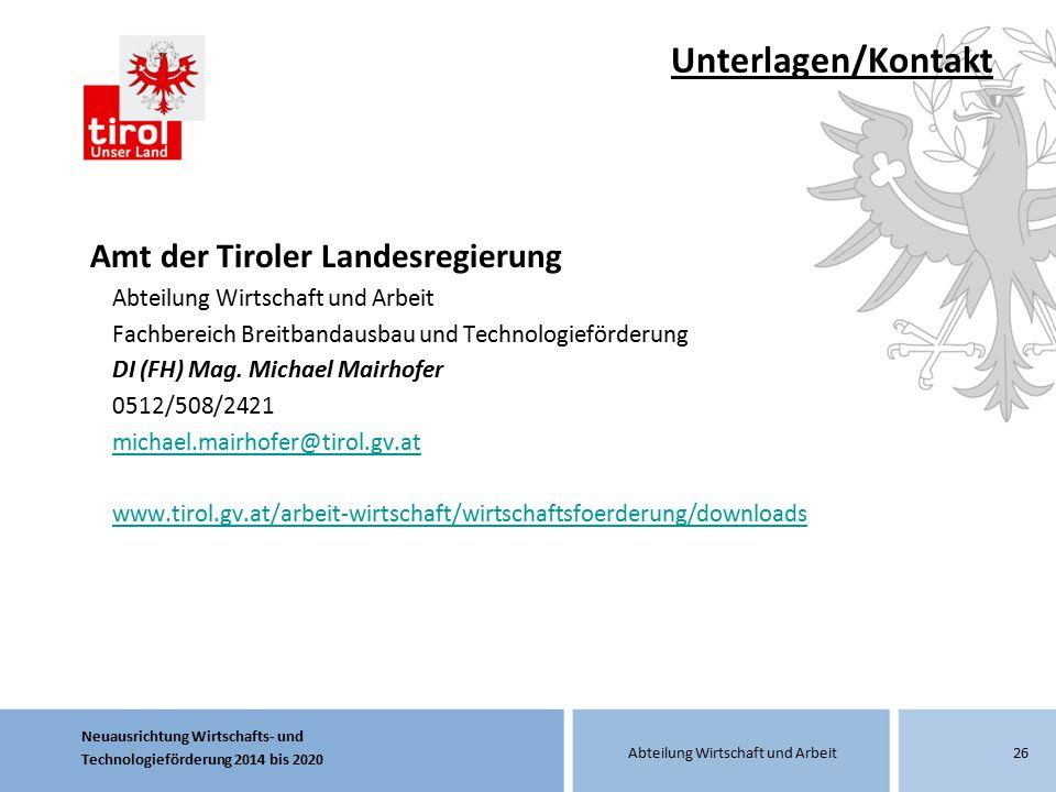 Unterlagen/Kontakt Amt der Tiroler Landesregierung