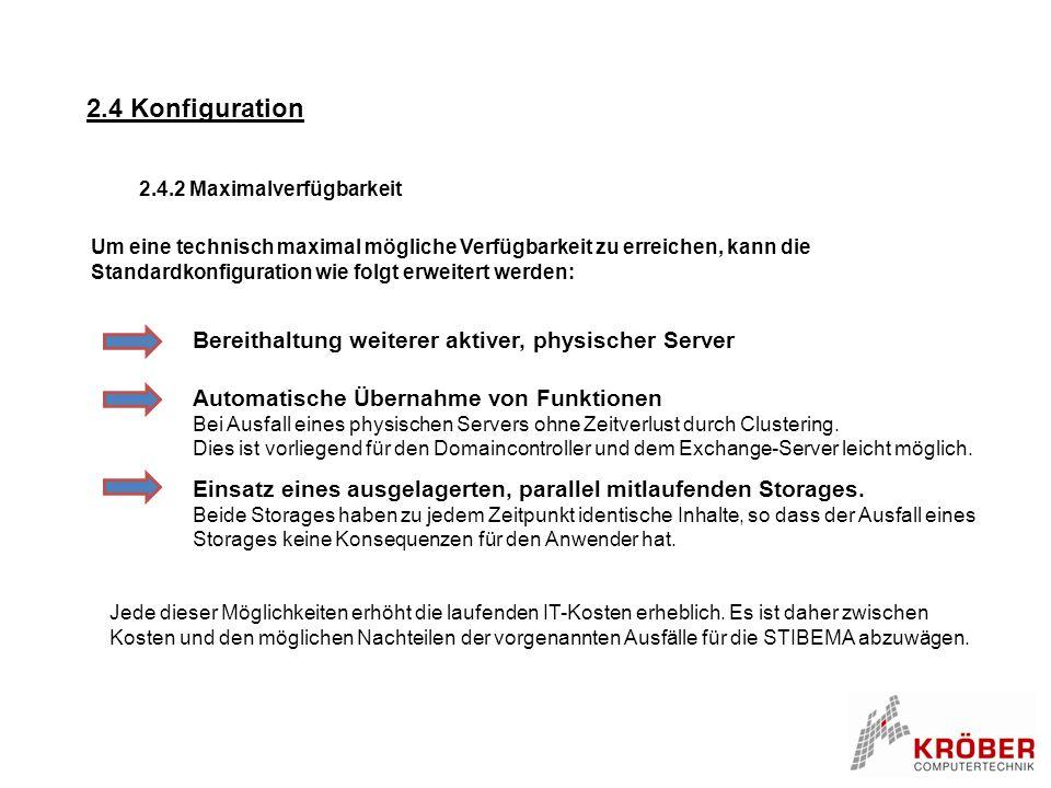 2.4 Konfiguration Bereithaltung weiterer aktiver, physischer Server