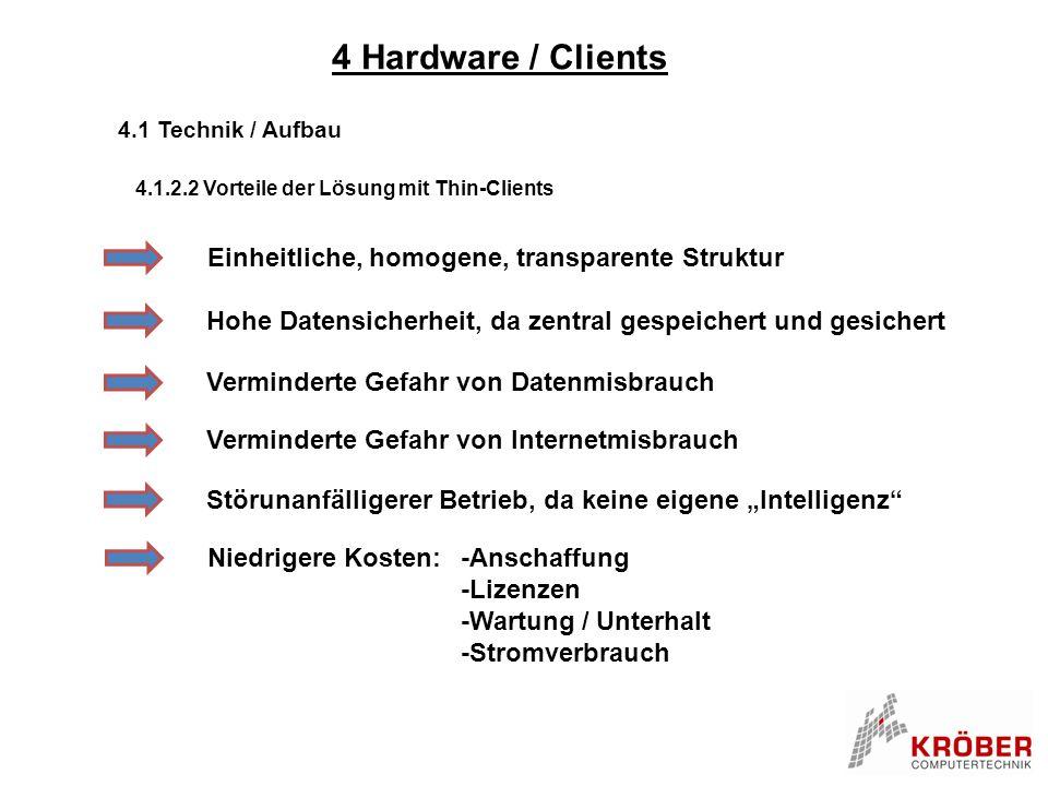 4 Hardware / Clients Einheitliche, homogene, transparente Struktur