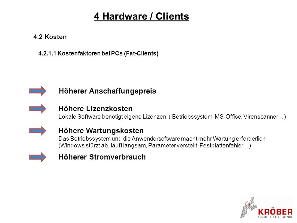 4 Hardware / Clients Höherer Anschaffungspreis Höhere Lizenzkosten