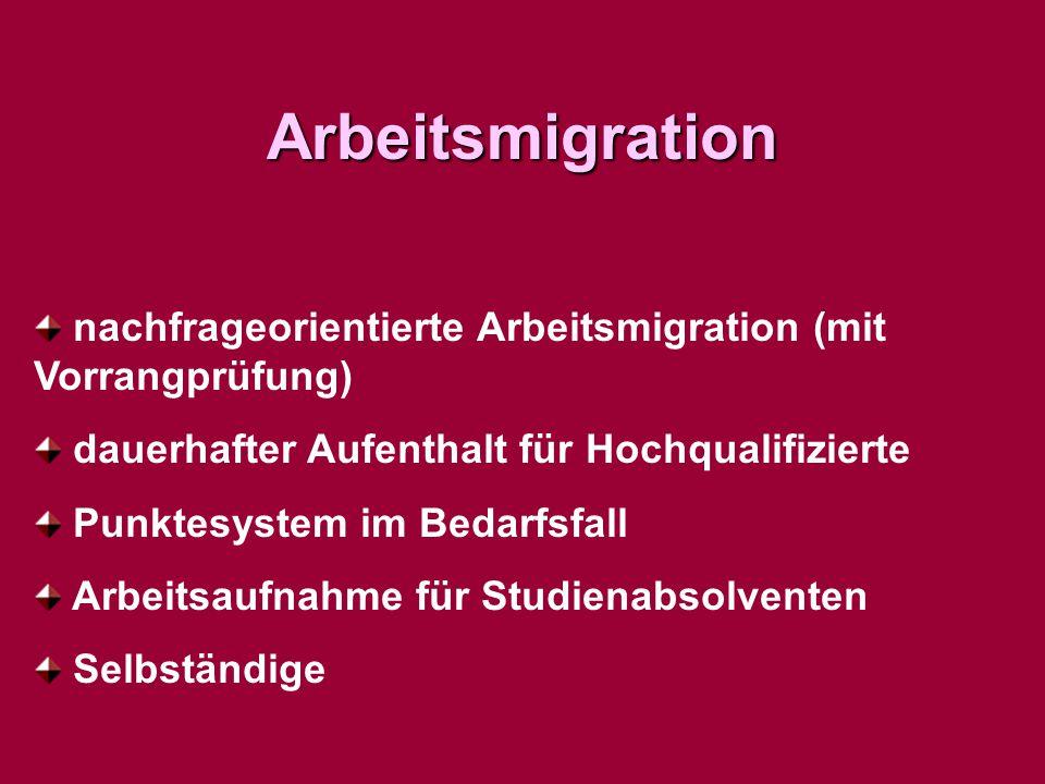 Arbeitsmigration nachfrageorientierte Arbeitsmigration (mit Vorrangprüfung) dauerhafter Aufenthalt für Hochqualifizierte.