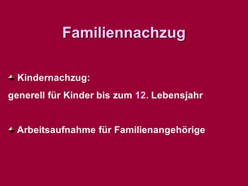 Familiennachzug Kindernachzug: