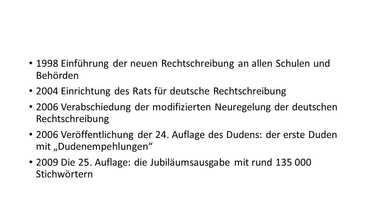 1998 Einführung der neuen Rechtschreibung an allen Schulen und Behörden