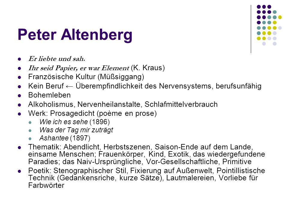 Peter Altenberg Er liebte und sah.