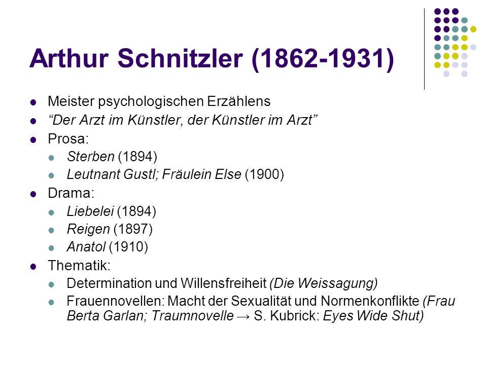 Arthur Schnitzler (1862-1931) Meister psychologischen Erzählens