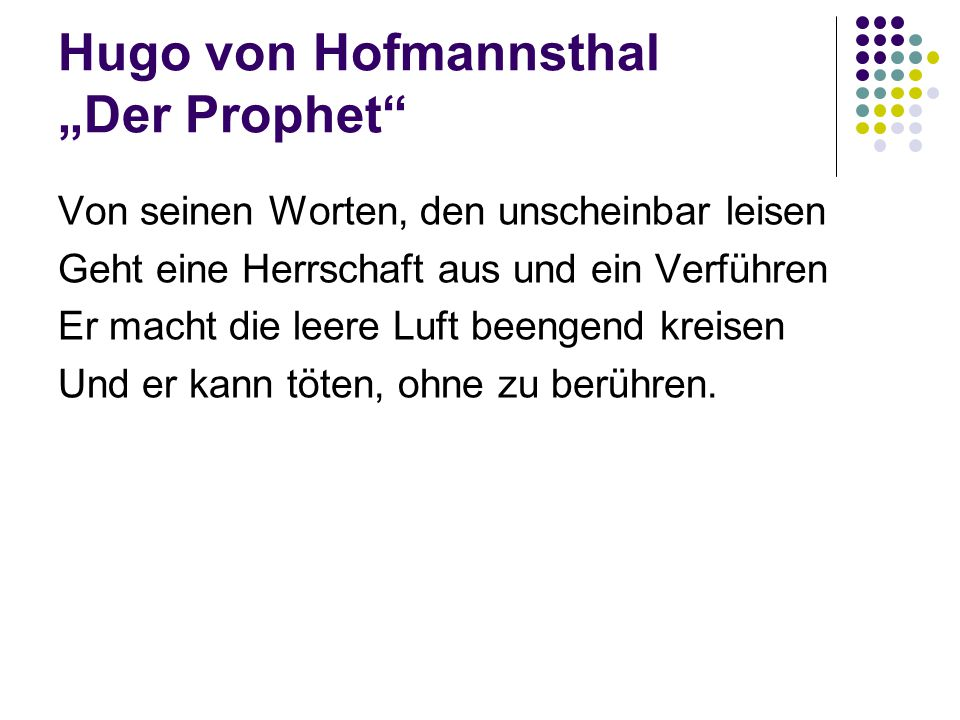 """Hugo von Hofmannsthal """"Der Prophet"""