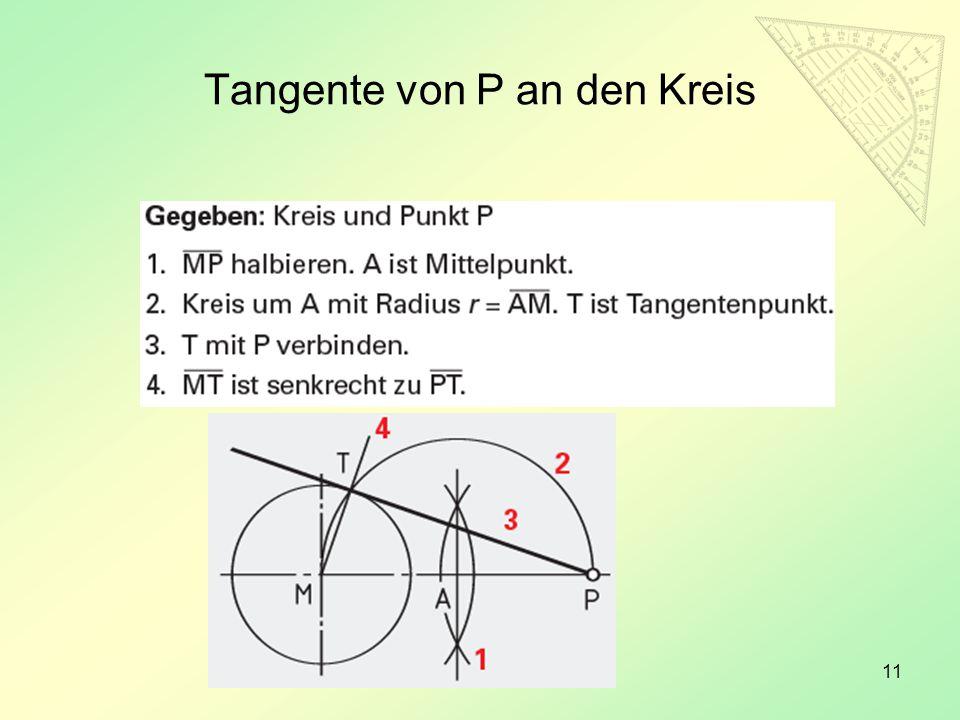 Tangente von P an den Kreis
