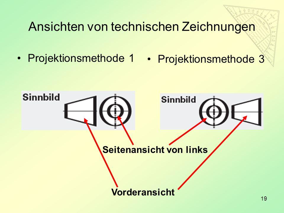 Ansichten von technischen Zeichnungen
