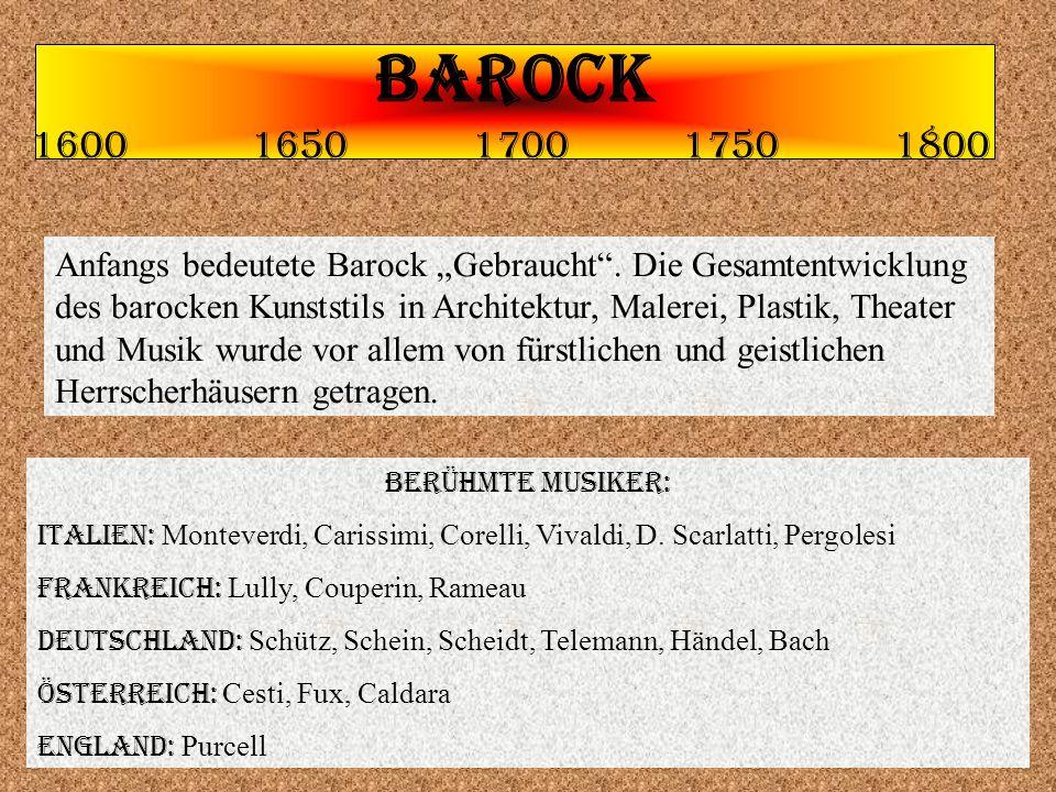 BAROCK 1600 1650 1700 1750 1800.