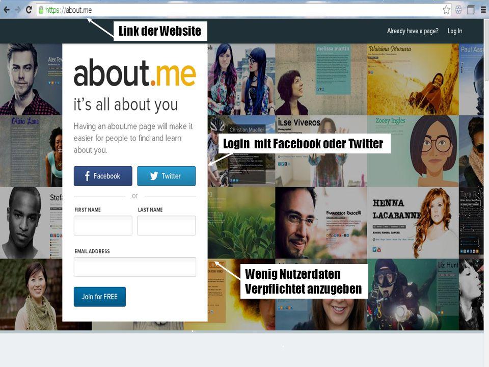 Link der Website Login mit Facebook oder Twitter Wenig Nutzerdaten Verpflichtet anzugeben