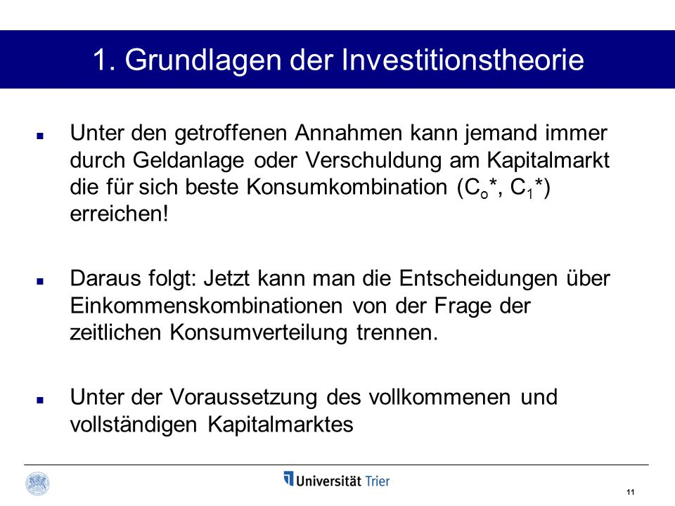 1. Grundlagen der Investitionstheorie