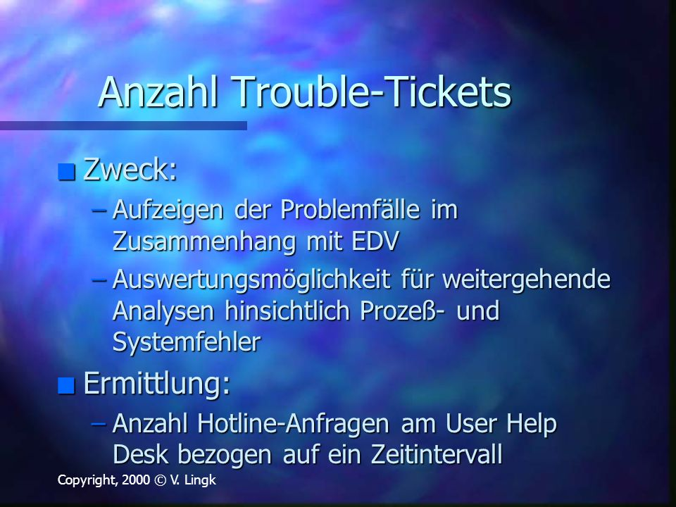 Anzahl Trouble-Tickets