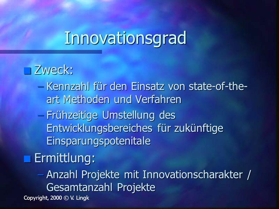 Innovationsgrad Zweck: Ermittlung: