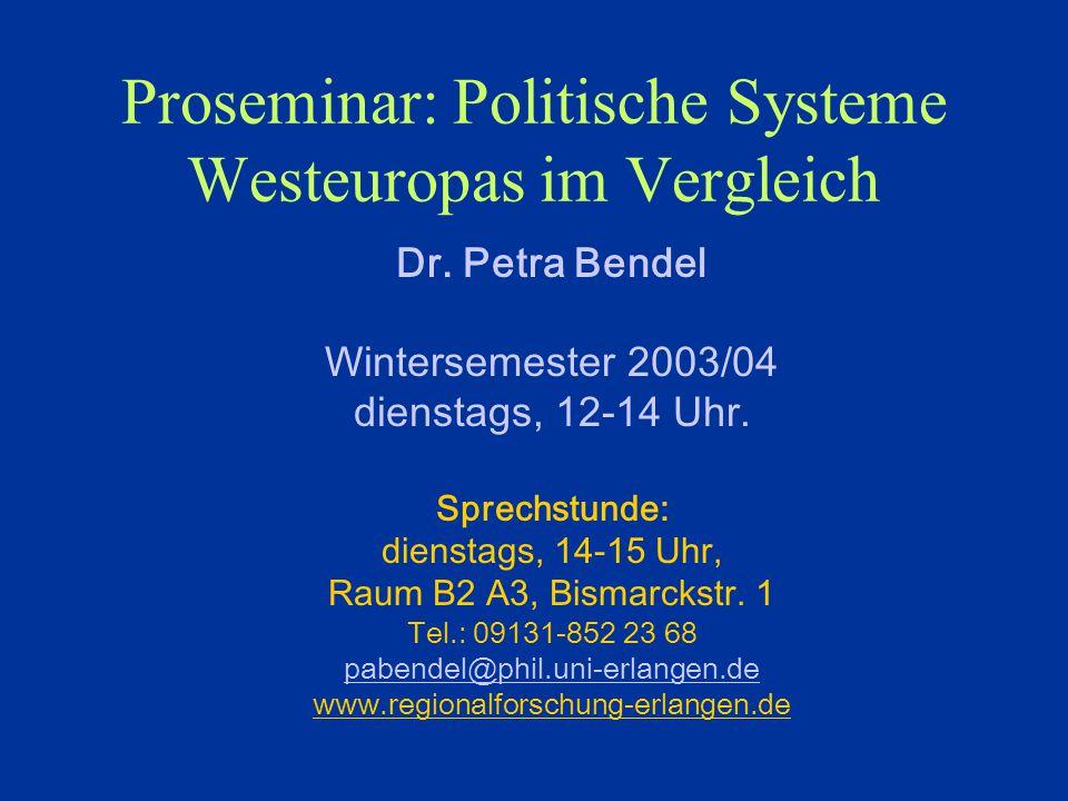Proseminar: Politische Systeme Westeuropas im Vergleich