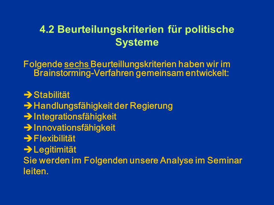 4.2 Beurteilungskriterien für politische Systeme