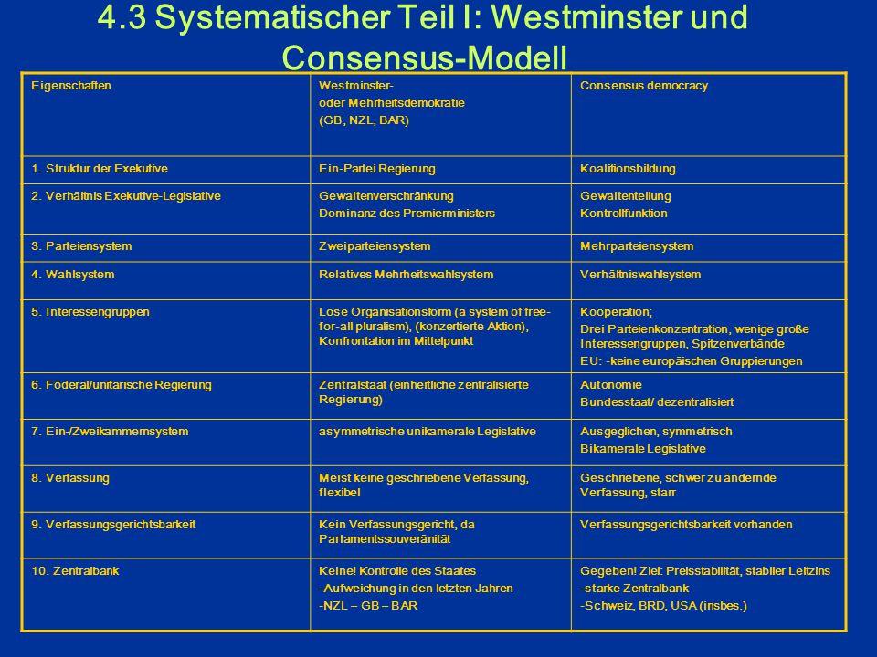 4.3 Systematischer Teil I: Westminster und Consensus-Modell