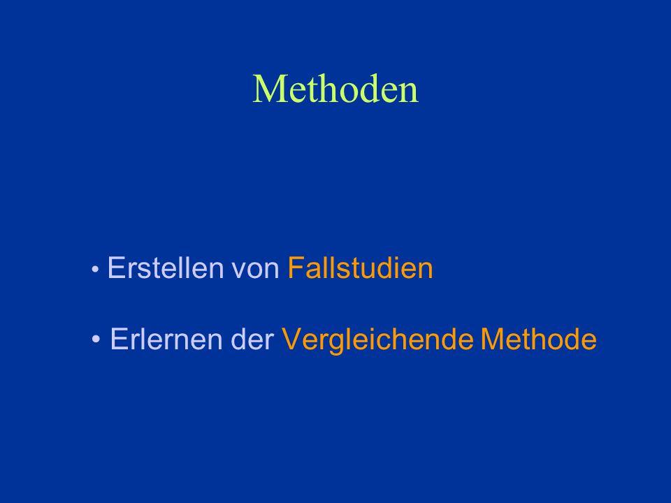 Methoden Erstellen von Fallstudien Erlernen der Vergleichende Methode