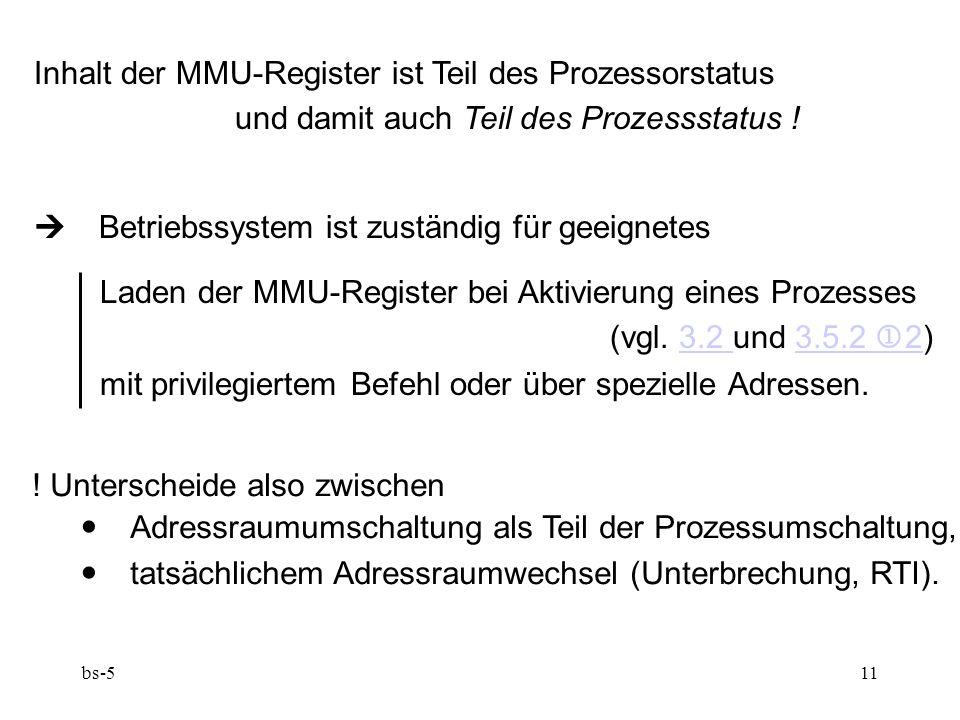 Inhalt der MMU-Register ist Teil des Prozessorstatus