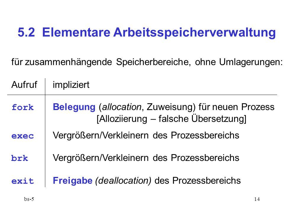 5.2 Elementare Arbeitsspeicherverwaltung